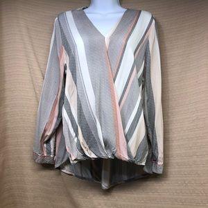 Cynthia Rowley High Low Wrap Blouse Long Sleeves